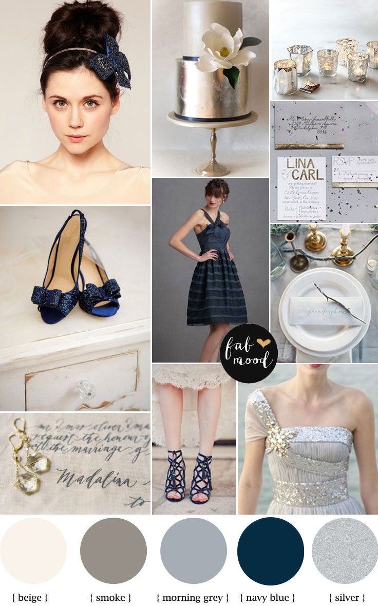 Metalic Wedding Palette Metallic Silver Navy Blue