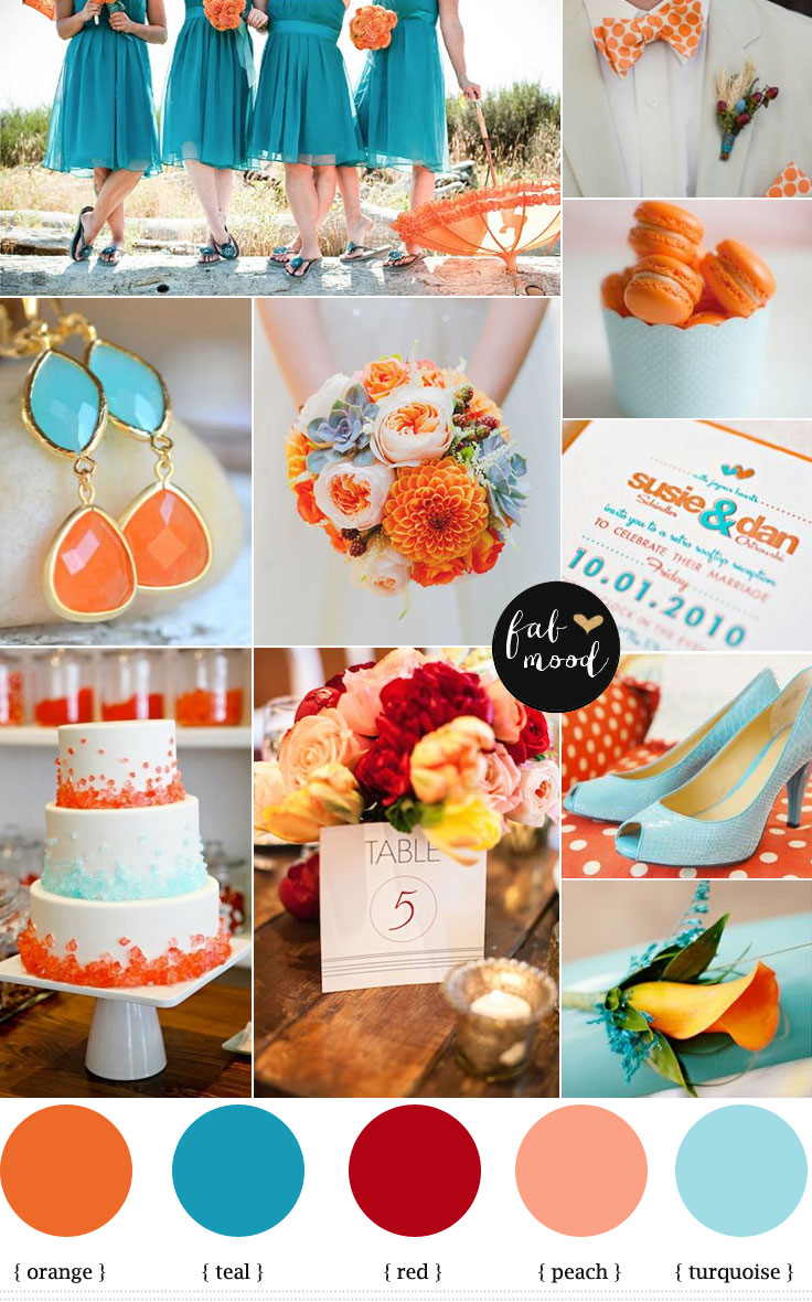 Turquoise And Orange Beach Weddingorange And Teal Beach