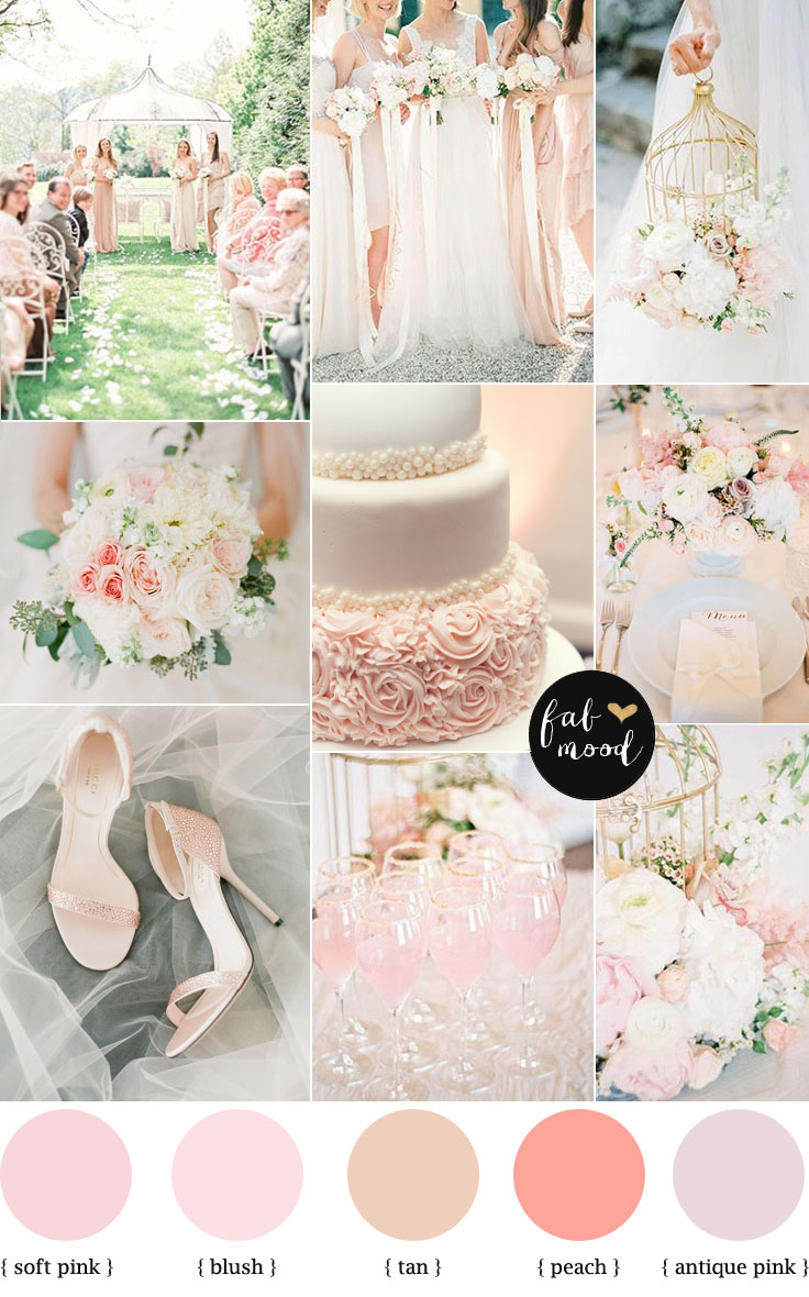 Blush pink garden wedding colour palette