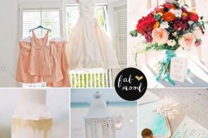 peach and turquoise beach wedding