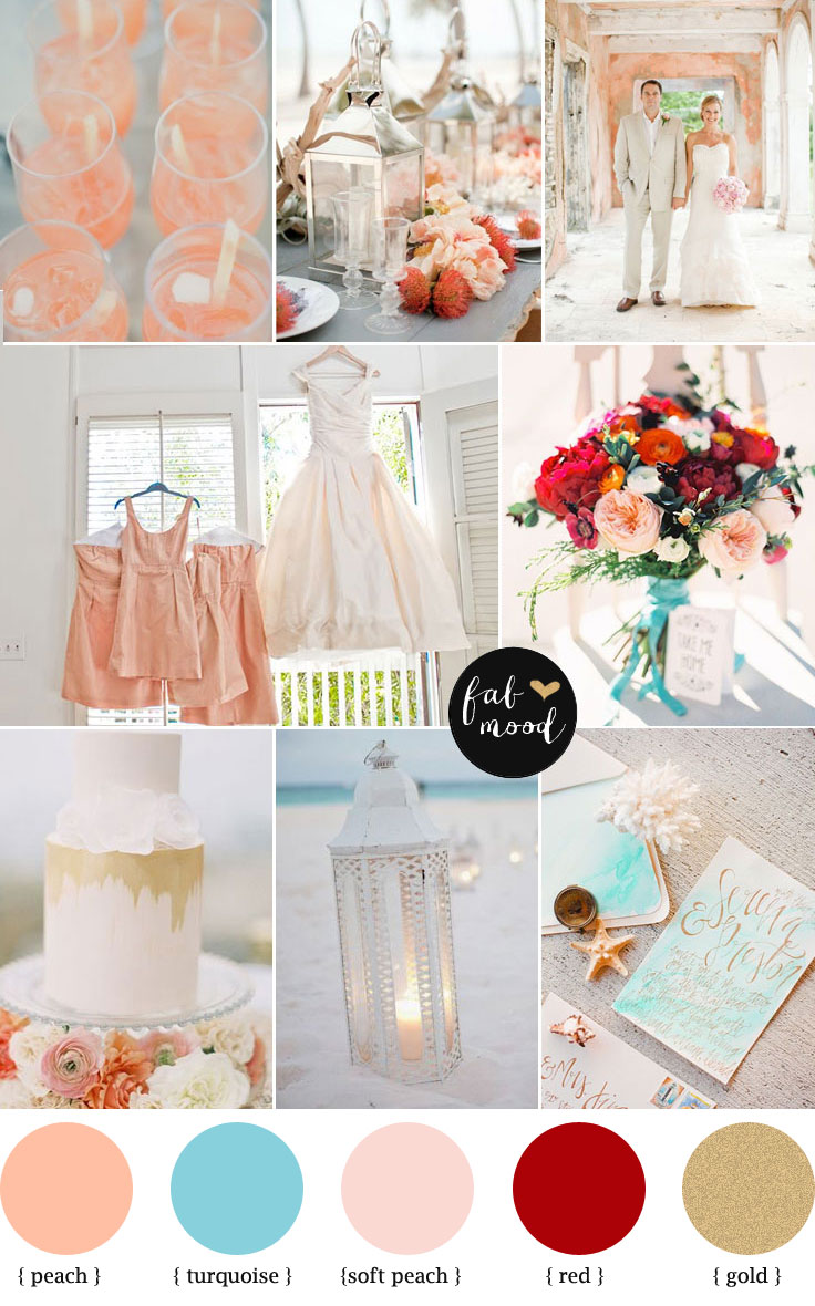 peach and turquoise beach wedding