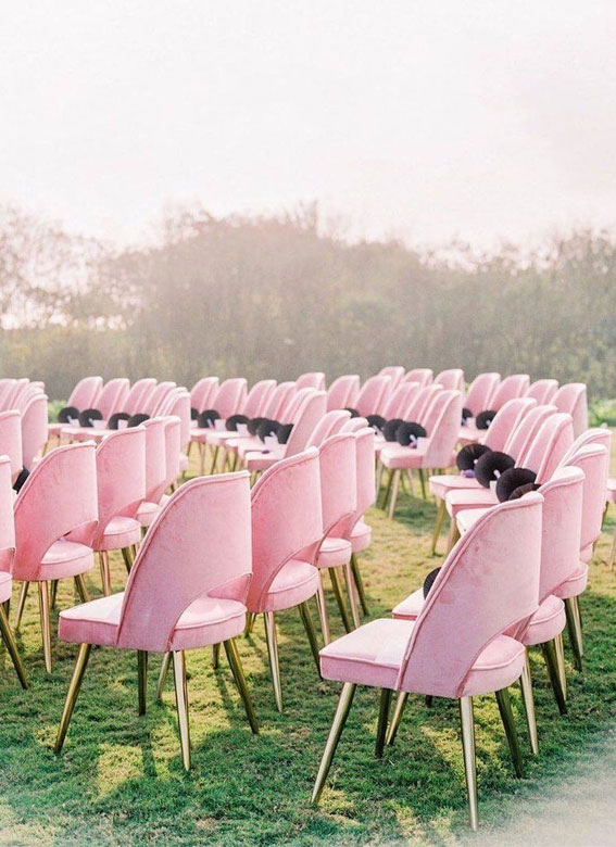 pink wedding ideas, pink chairs, wedding decor, wedding ceremony ideas