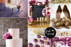 Radiant orchid,purple and gold wedding color palette