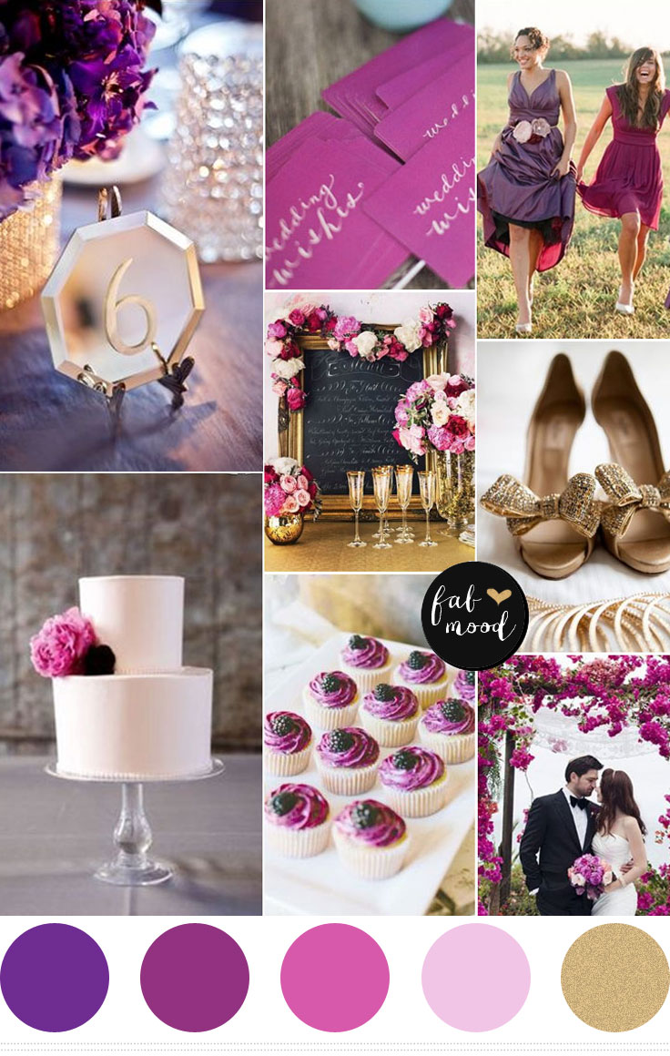 Purple And Gold Wedding Color Palette Royal Plum Radiant Orchid