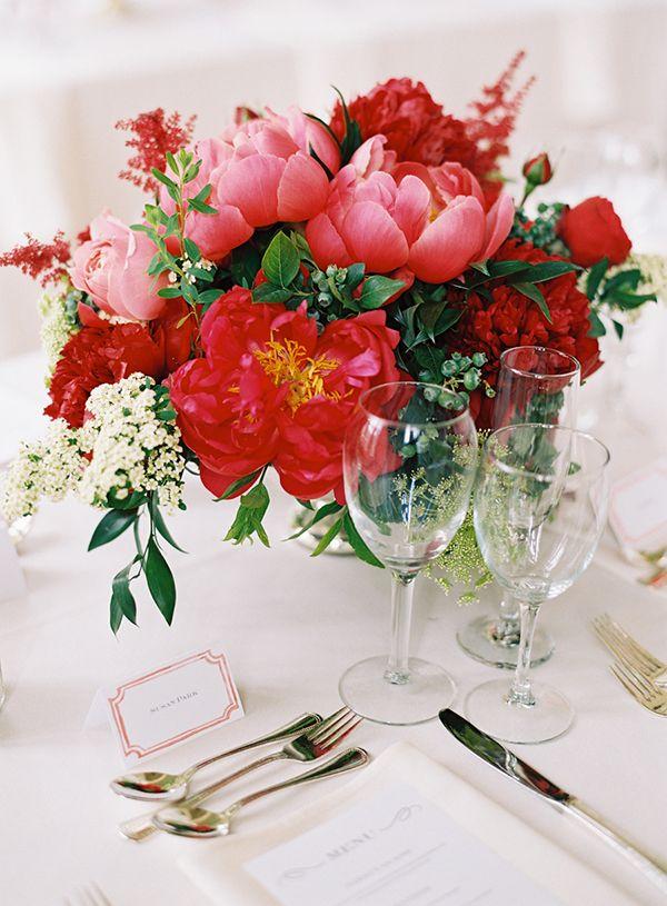 Red wedding centerpieces   Jen Heung Photography