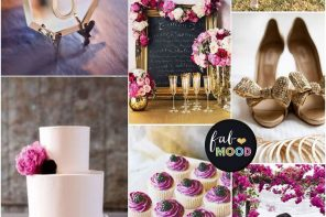 Royal purple + plum + mulberry + pale lilac pink and mute gold wedding colour palette | fabmood.com
