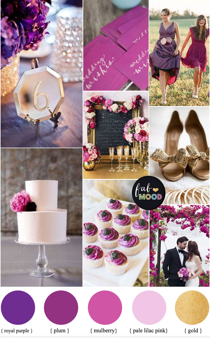 Royal Purple Plum Mulberry Pale Lilac Pink And Mute Gold Wedding Colour Palette