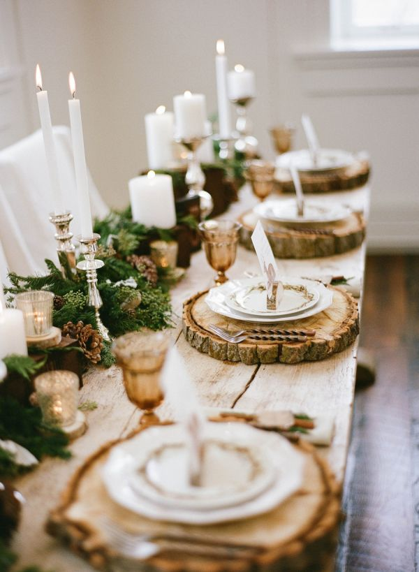 Gold Winter wedding tablescape