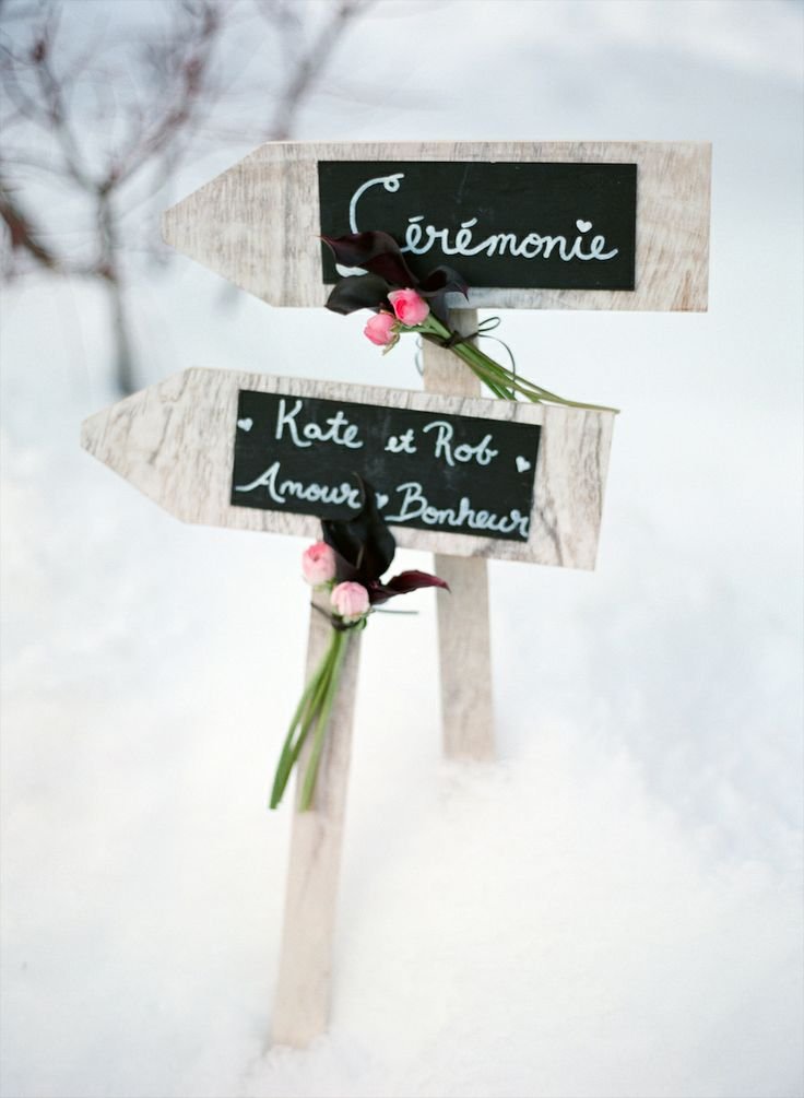 Winter wedding signs in sparkly snow |  Photography Aneta MAK