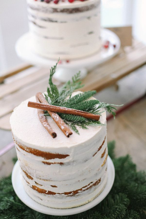 Cinnamon sticks on a winter wedding cake