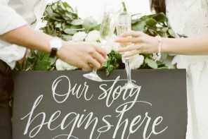 Chalkboard calligraphy for wedding