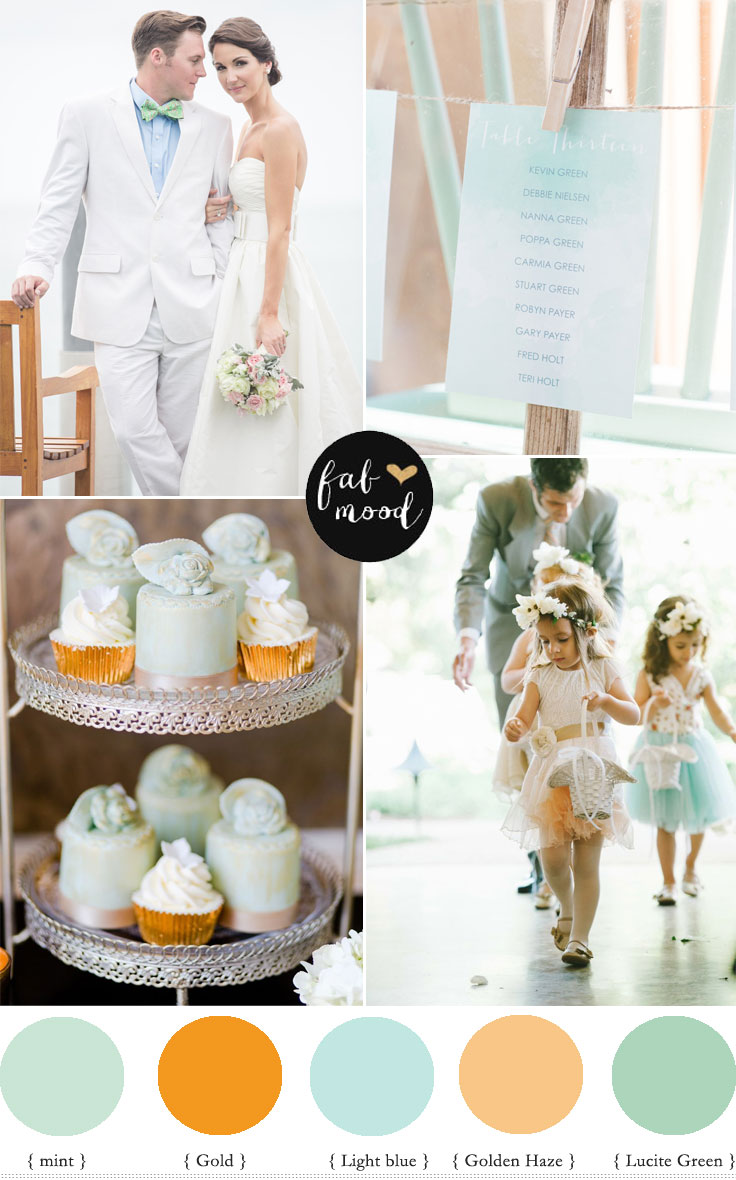 fabmood.com | Pastel wedding Colors palette { Mint, Lucite green and gold } | Photographer : 13:13 - 1313photography.com/  | Christine Pienaar Photography | EddieJuddPhotogray.com | MichelleLyerly.com