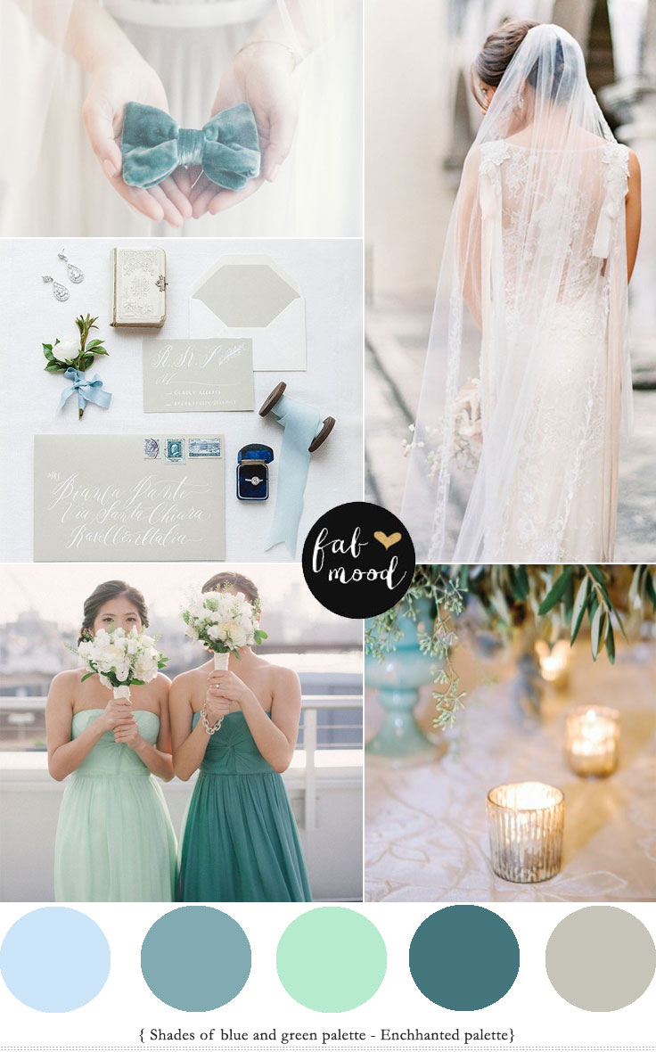 Shades of Green Wedding Colour Palette - Enchanted Colour