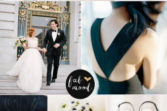 Black and white with hint of gold for city wedding | Photography : ashleyludaescher.com | esthersunphoto.com | erinheartscourt.com | sylviegilphotography.com | carolinetran.net | kateannphotography.com | lauraclarkephotos.com/