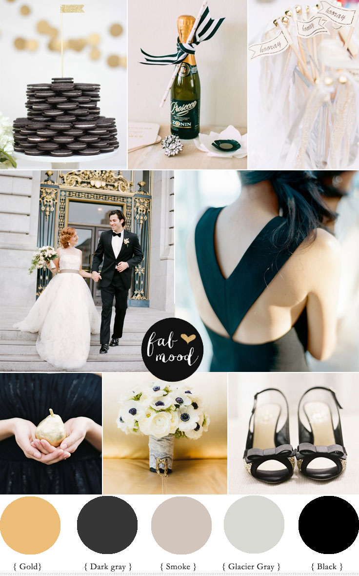 Black And White With Hint Of Gold For City Wedding