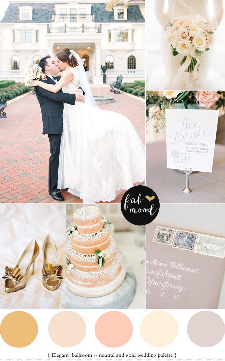 Elegant Ballroom Wedding { Neutral & Gold Palette }