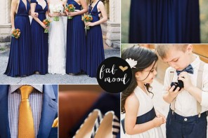 Navy blue,orange,mustard wedding colour palette