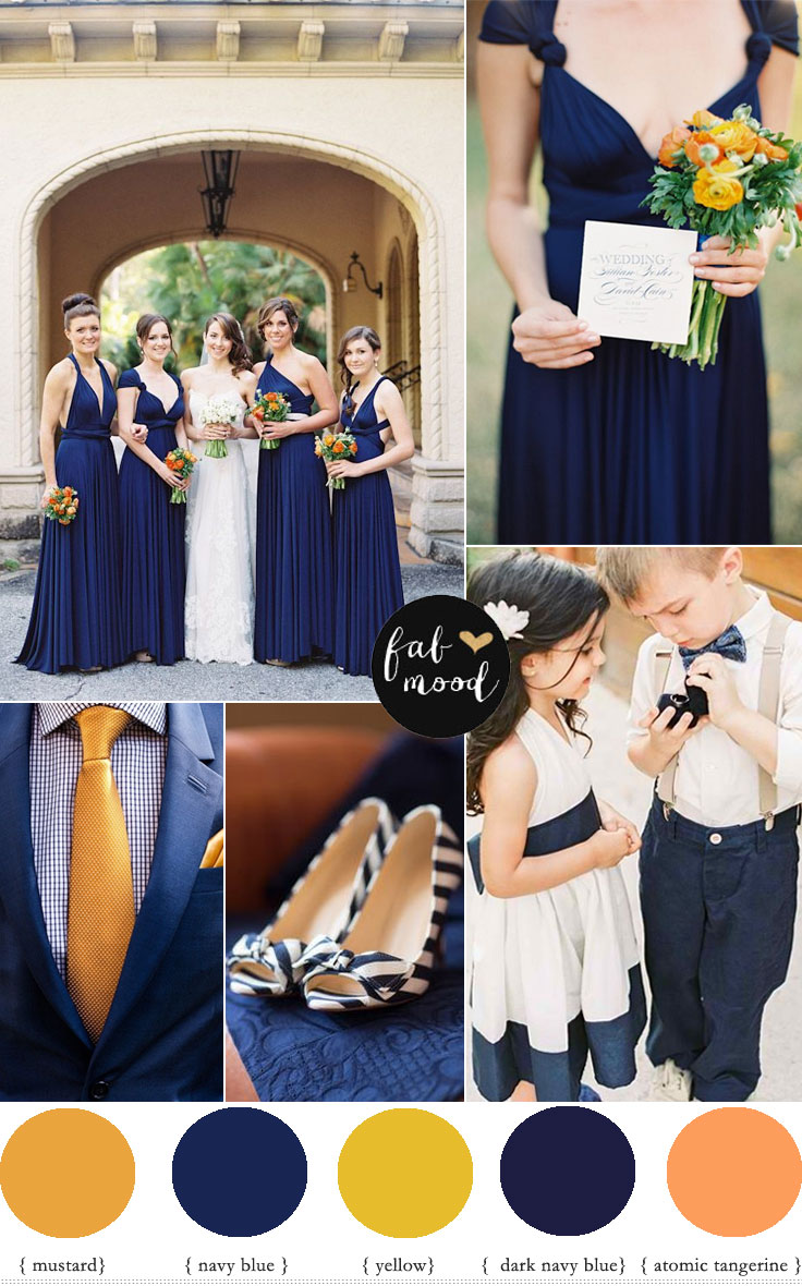 Fabmood Orange Navy Blue And Mustard Yellow Wedding Colour Palette