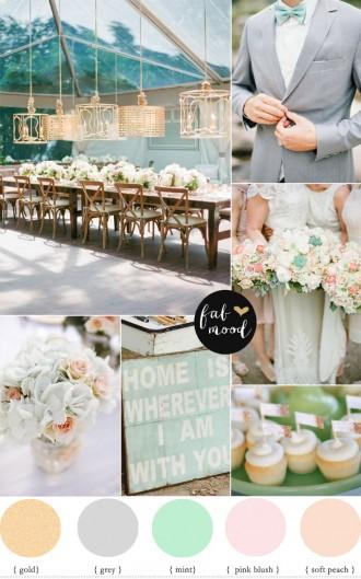 fabmood.com | Bush peach Gold Grey and Mint Wedding Colour Palette
