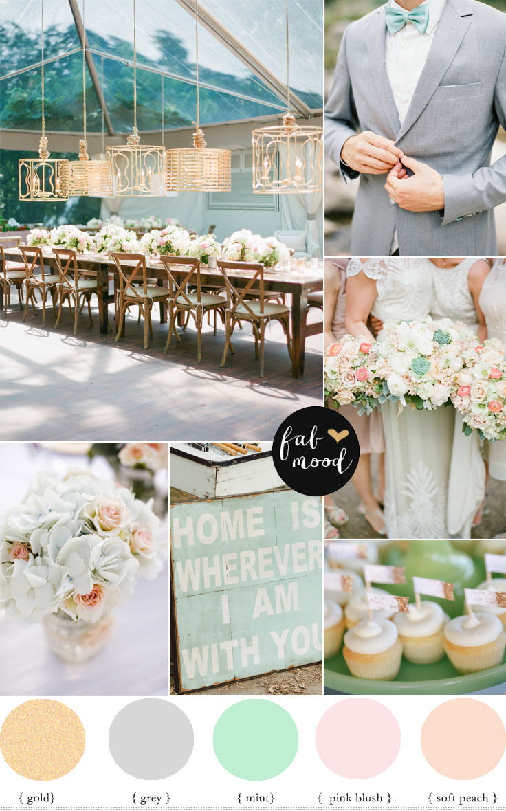 Fabmood Blush Mint Grey And Gold Wedding Colour Palette