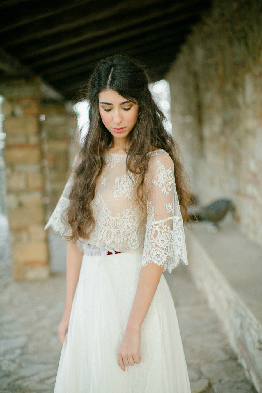 lace wedding dress - Boho Chic Wedding Inspiration Shoot from Anna Roussos Photography - annaroussos.com | Read more : https://www.fabmood.com/boho-chic-wedding-inspiration-shoot-anna-roussos-photography