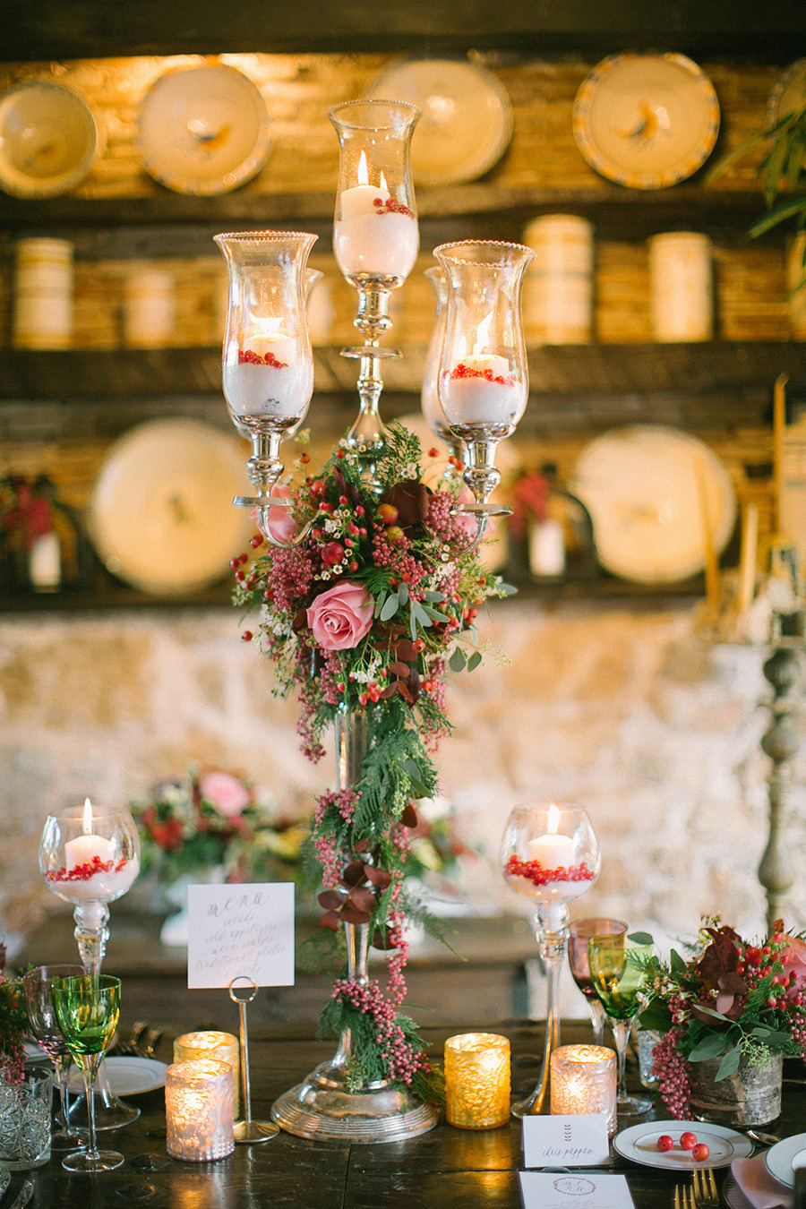 winter wedding centerpieces - Boho Chic Wedding Inspiration Shoot from Anna Roussos Photography - annaroussos.com | Read more : https://www.fabmood.com/boho-chic-wedding-inspiration-shoot-anna-roussos-photography