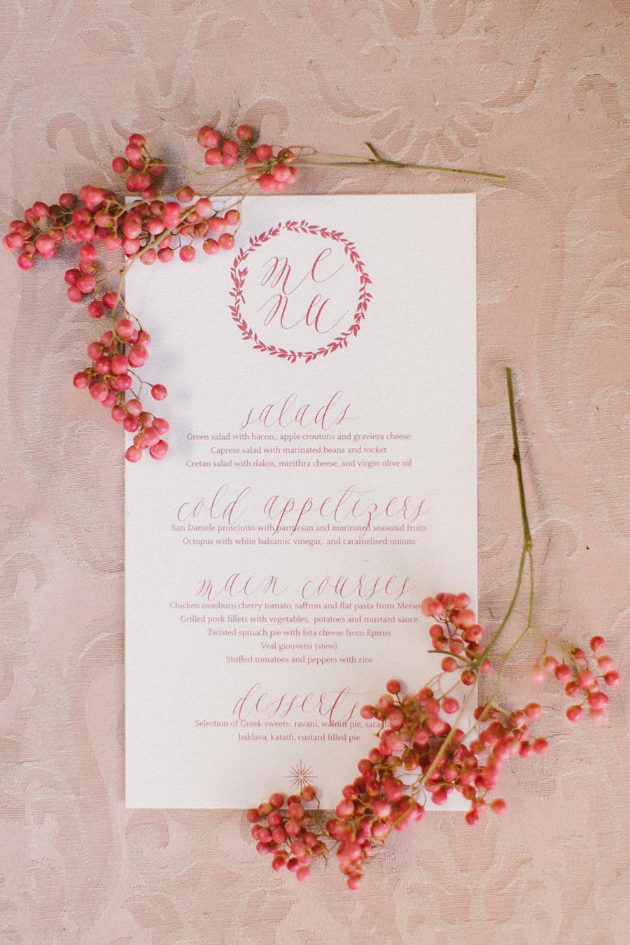 wedding menu - Boho Chic Wedding Inspiration Shoot from Anna Roussos Photography - annaroussos.com | Read more : http://www.fabmood.com/boho-chic-wedding-inspiration-shoot-anna-roussos-photography