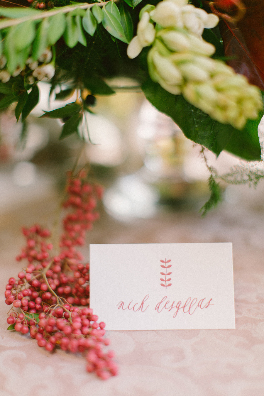 calligraphy winter wedding escort card - Boho Chic Wedding Inspiration Shoot from Anna Roussos Photography - annaroussos.com | Read more : https://www.fabmood.com/boho-chic-wedding-inspiration-shoot-anna-roussos-photography