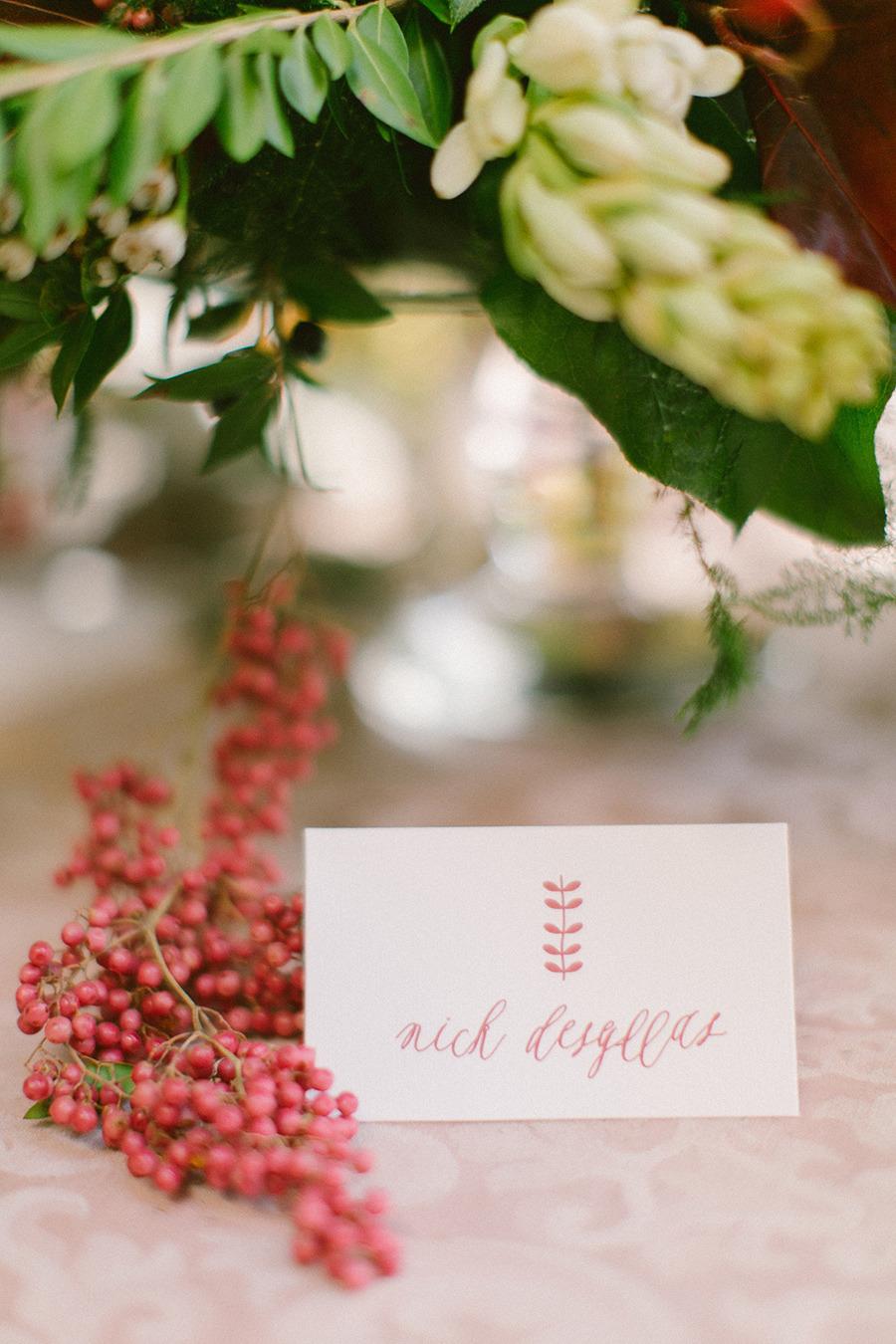 calligraphy winter wedding escort card - Boho Chic Wedding Inspiration Shoot from Anna Roussos Photography - annaroussos.com | Read more : http://www.fabmood.com/boho-chic-wedding-inspiration-shoot-anna-roussos-photography