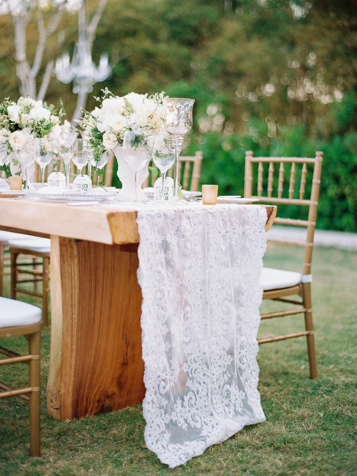 fabmood.com | Classic  & Alfresco Dinner Wedding In Bali  - Lace table setting | Photographer : Angga Permana - anggapermana.com