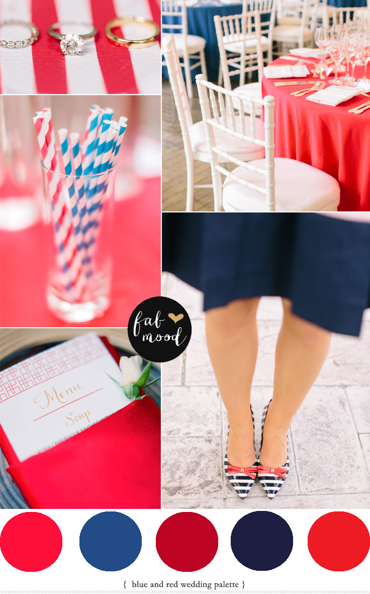 fabmood.com | red and blue flag themed or Blue and Red Wedding theme here is a lovely blue and red wedding Colour Palette,color combinations