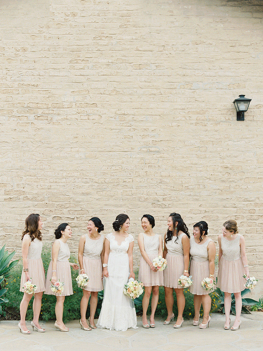 neutral Bridesmaids | Traditional elegance outdoor wedding | Santa Barbara Historical Museum Wedding from Lane Dittoe Photography - lanedittoe.com