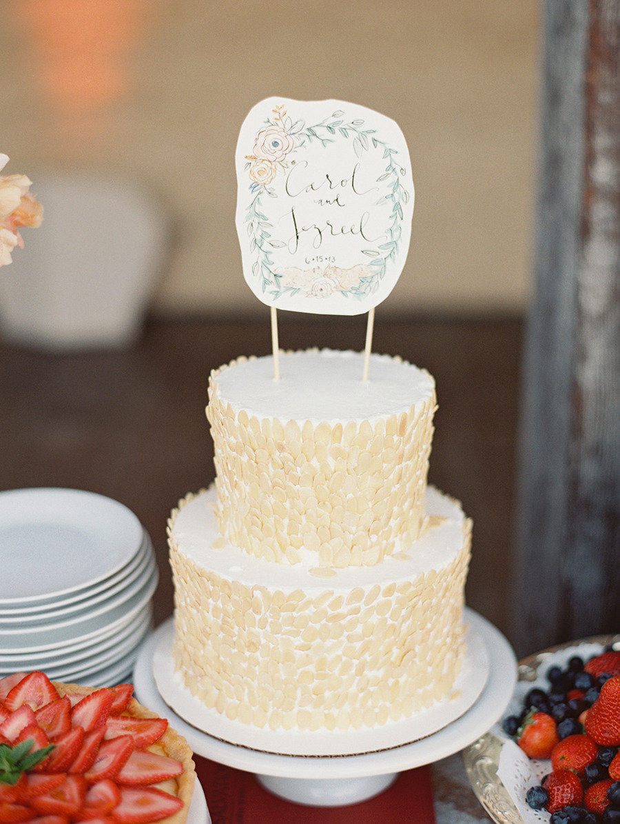 calligraphy cake topper |Traditional elegance outdoor wedding | Santa Barbara Historical Museum Wedding from Lane Dittoe Photography - lanedittoe.com