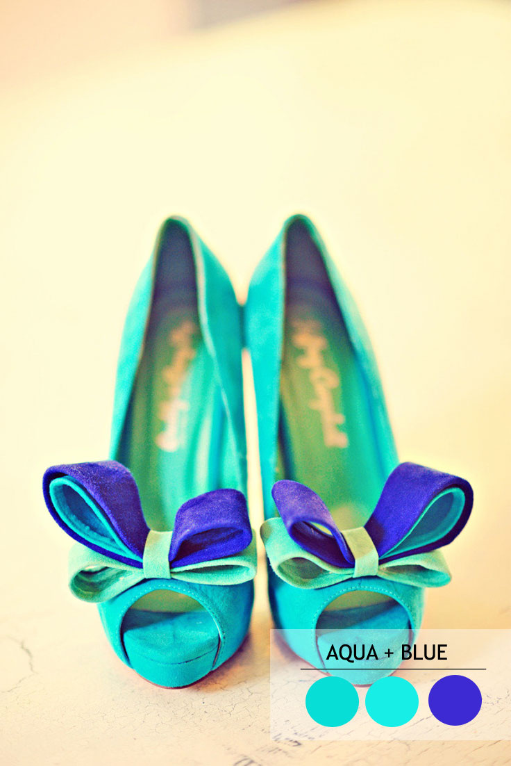 Aqua and blue wedding color combos for summer wedding | read more : 15 Fabulous Summer wedding Color Combos