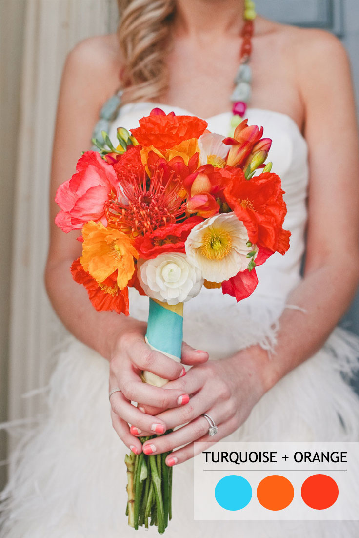 Turquoise and Orange wedding color combos