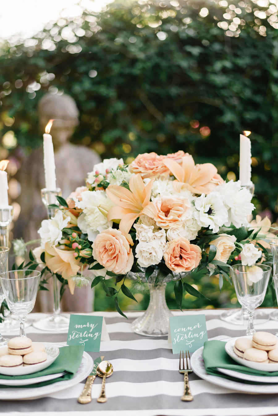 spring wedding centerpieces,Peach colored wedding centerpieces | Photography: Joe and Patience - joeandpatience.com/