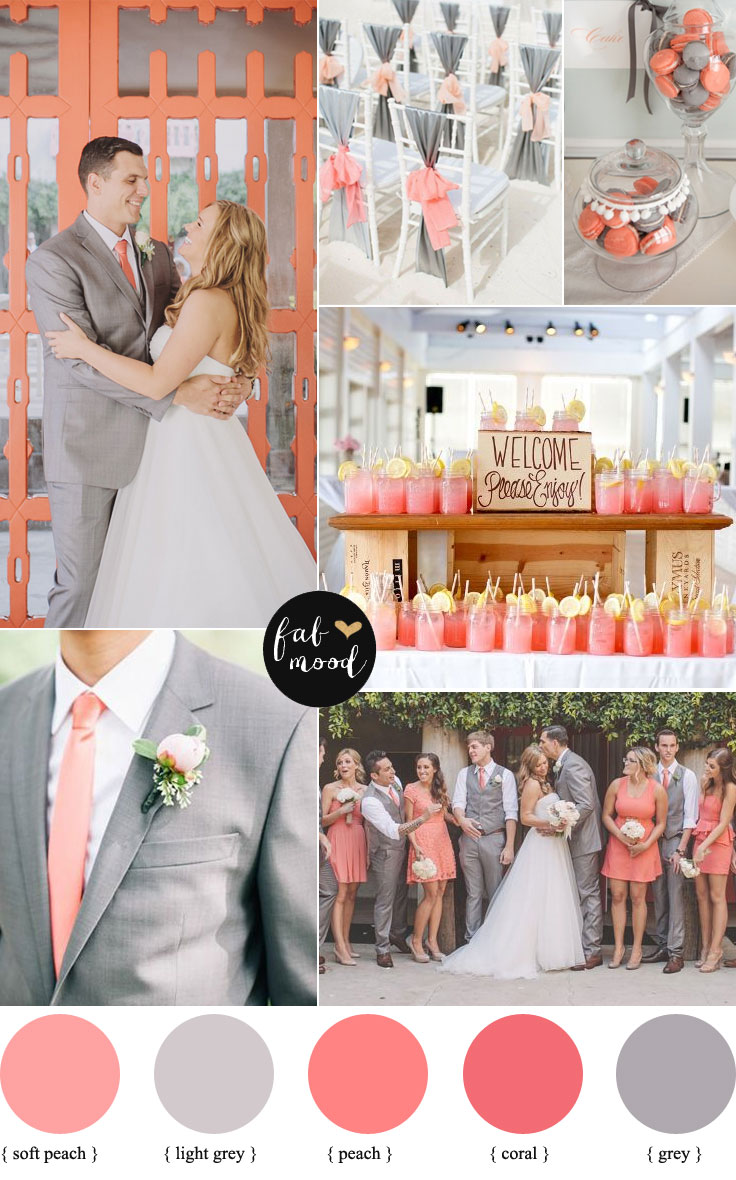Peach Coral And Grey Wedding Palette Colors