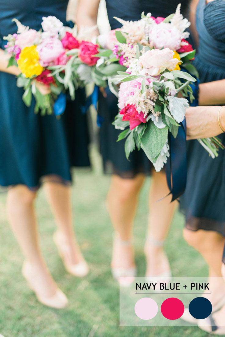 12 Fabulous Summer wedding Color Combos : Navy Blue+Pink | Read more : https://www.fabmood.com/fabulous-summer-wedding-color-combos