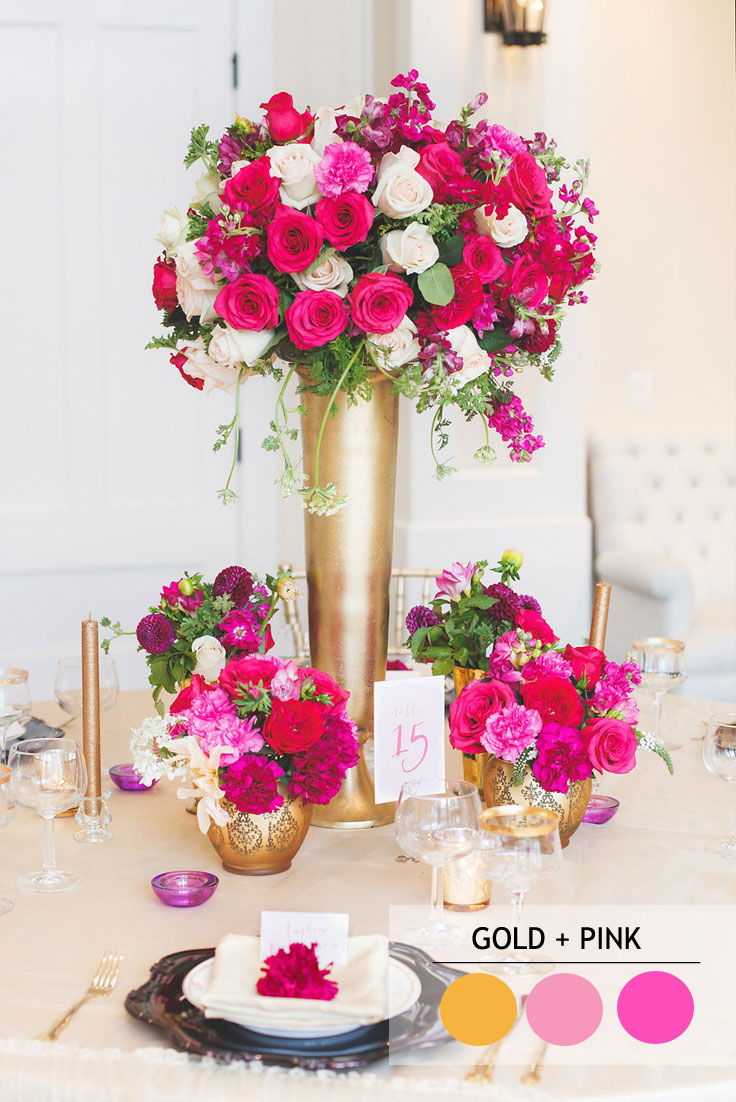 15 Fabulous Summer wedding Color Combos : gold and pink SUMMER WEDDING COLORS | Read more : https://www.fabmood.com/fabulous-summer-wedding-color-combos