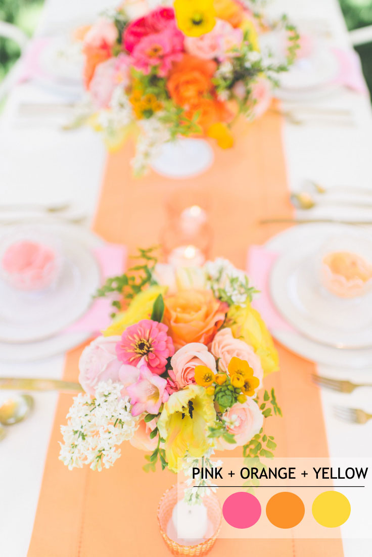 15 Fabulous Summer wedding Color Combos : orange pink and yellow SUMMER WEDDING COLORS | Read more : https://www.fabmood.com/fabulous-summer-wedding-color-combos