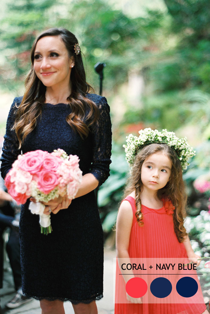 coral and navy blue summer wedding color combos