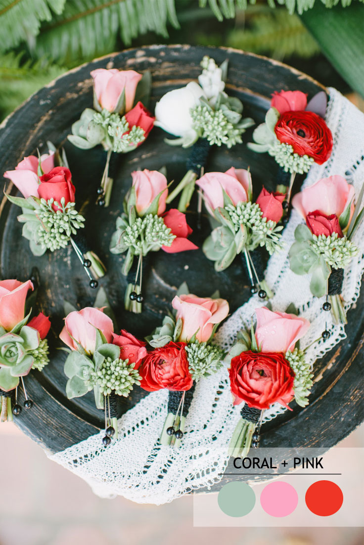 coral and pink summer wedding color combos