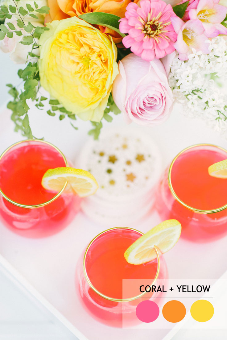 coral and yellow summer wedding color schemes