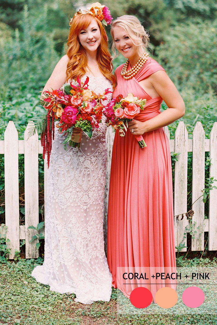 coral peach and pink summer wedding color schemes