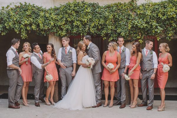 coral and grey wedding,Coral bridesmaids and grey groomsmen | Coral Santa Fe Springs Wedding | Photography : Anna Delores Photography
