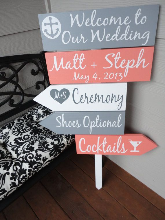 grey and coral wedding sign,beach wedding ideas