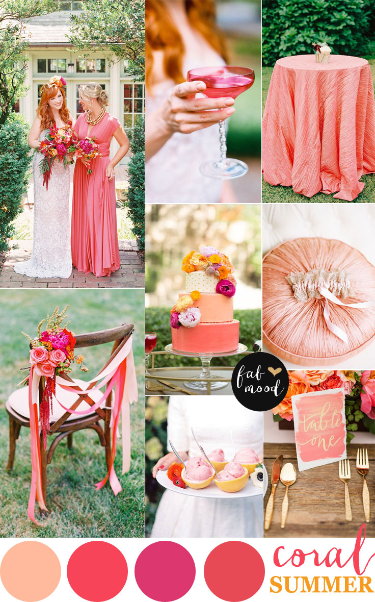 Coral wedding color combos color schemes for summer coral shades of pink and peach for summer weddingsummer weddingcoral wedding wedding details coral wedding color schemes junglespirit Gallery