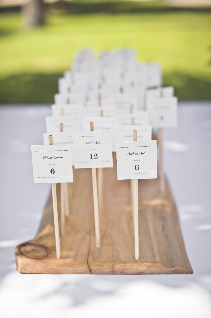 escort card on wooden stick | Photography by michelebeckwith.com