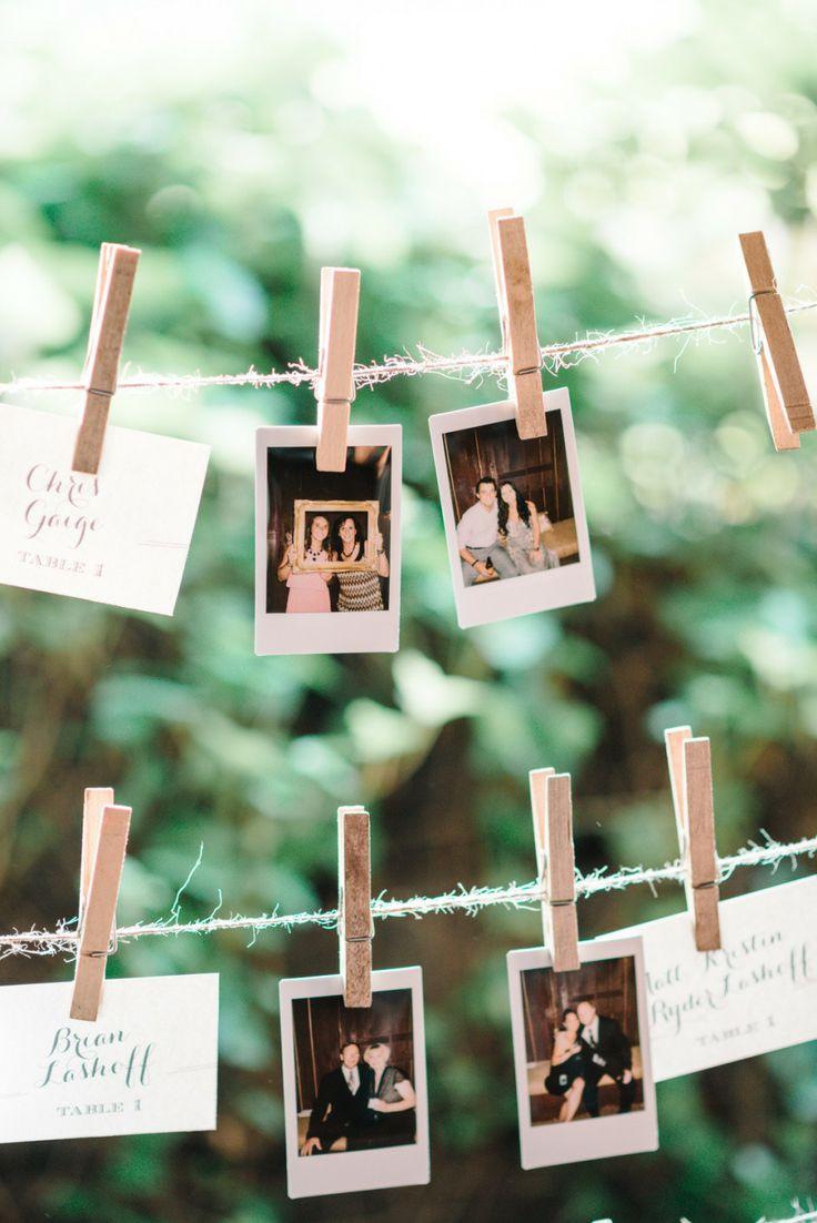 Polaroids escort cards display