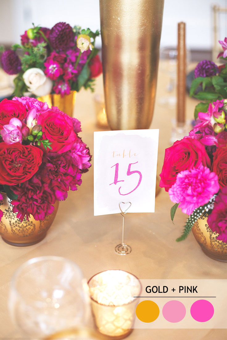 pink and gold summer wedding color combos